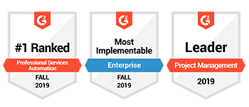 G2 Crowd #1 Ranked PSA 2019, Most Implementable Enterprise 2019, Leader Project Management 2019